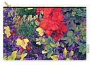 Red Geranium With Yellow And Purple Flowers - Horizontal Carry-all Pouch