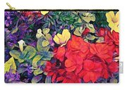 Red Geranium With Yellow And Purple Flowers - Vertical Carry-all Pouch