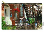 Red Geraniums Verdun Winding Staircases Hanging Flower Basket Montreal Porch Scene Carole Spandau Carry-all Pouch