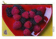 Red Heart Dish And Raspberries Carry-all Pouch
