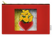 Red Heart Vase With Yellow Roses Carry-all Pouch