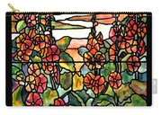 Stained Glass Tiffany Red Hollyhocks In Landscape In Watercolor Carry-all Pouch