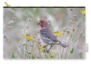 Red House Finch In Flowers Carry-all Pouch