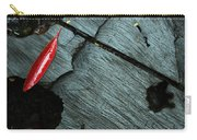 Red Leaf On Cut Wood Carry-all Pouch