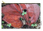Red Leaf On Green Carry-all Pouch