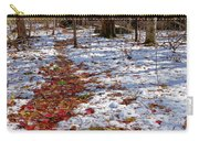Red Leaves On Snow - Cabin In The Woods Carry-all Pouch