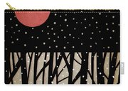 Red Moon And Snow Carry-all Pouch by Carol Leigh
