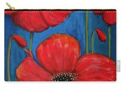 Red Poppies On Blue Carry-all Pouch