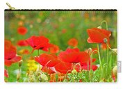 Red Poppy Flowers Meadow Art Prints Carry-all Pouch