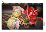 Purple Roses And Red Lily Carry-all Pouch