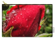 Red Rose Bud With Water Drops Carry-all Pouch