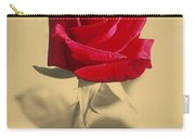 Red Rose Flower Isolated On Sepia Background Carry-all Pouch