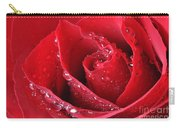 Red Rose Macro With Waterdrops Carry-all Pouch