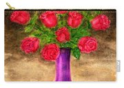 Red Roses In A Purple Vase Carry-all Pouch