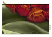 Red Roses On Green Silk Carry-all Pouch
