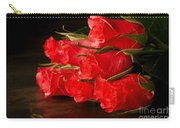 Red Roses On Wood Floor Carry-all Pouch