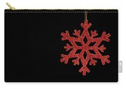 Red Snow Flake On A Black Background Carry-all Pouch