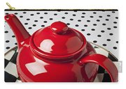 Red Teapot On Checkerboard Plate Carry-all Pouch