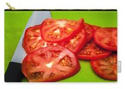 Red Tomato Slices And Knife On Green Chopping Board Carry-all Pouch