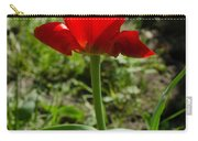 Red Tulip On The Green Background Carry-all Pouch