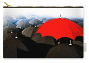 Red Umbrella In The City Carry-all Pouch by Bob Orsillo