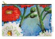 Red White And Blue Flowers Carry-all Pouch