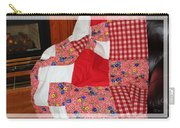 Red White And Gingham With Flowery Blocks Patchwork Quilt Carry-all Pouch