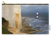 White Cliffs And Red-white Striped Lightouse In The Sea Carry-all Pouch
