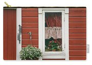 Red Wooden House With Plants In And By Carry-all Pouch