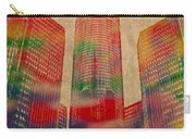 Renaissance Center Iconic Buildings Of Detroit Watercolor On Worn Canvas Series Number 2 Carry-all Pouch