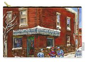 Restaurant Epicerie Jean Guy Pointe St. Charles Montreal Art Verdun Winter Scenes Hockey Paintings   Carry-all Pouch