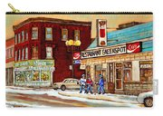 Restaurant Greenspot And Coin Vert Boutique Fleuriste Montreal Winter Street Hockey Scenes Carry-all Pouch