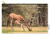 Reticulated Giraffe Drinking At Waterhole Kenya Carry-all Pouch