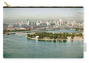 Retro Style Miami Skyline And Biscayne Bay Carry-all Pouch