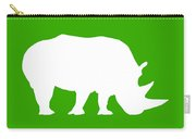 Rhino In Green And White Carry-all Pouch