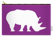 Rhino In Purple And White Carry-all Pouch
