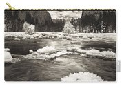 Rime Ice On The Merced In Black And White Carry-all Pouch