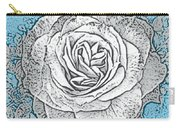 Ritzy Rose With Ink And Blue Background Carry-all Pouch