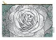 Ritzy Rose With Ink And Green Background Carry-all Pouch