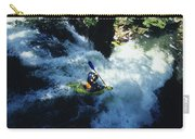 River Kayaking Over Waterfall, Crested Carry-all Pouch