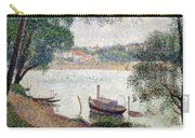 River Landscape With A Boat Carry-all Pouch by Georges Pierre Seurat