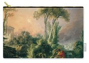 River Landscape With An Antique Temple Carry-all Pouch