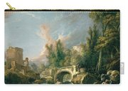 River Landscape With Ruin And Bridge Carry-all Pouch