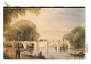 River Scene With Bridge Of Six Arches Carry-all Pouch by Robert Hindmarsh Grundy