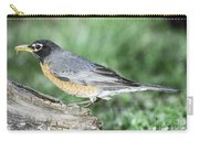 Robin Eating Mealworm Carry-all Pouch