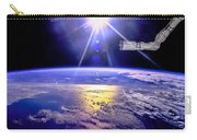 Robot Arm Over Earth With Sunburst  Carry-all Pouch