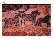 Rock Painting Of Tarpans Ponies, C.17000 Bc Cave Painting Carry-all Pouch