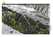 Rock Wall With Moss And A Dusting Of Snow Art Prints Carry-all Pouch