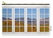 Rocky Mountains Horses White Window Frame View Carry-all Pouch