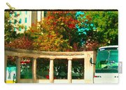 Roddick Gates Mcgill Campus Sherbrook Street Bus Autumn Downtown Montreal City Scenes Carole Spandau Carry-all Pouch
